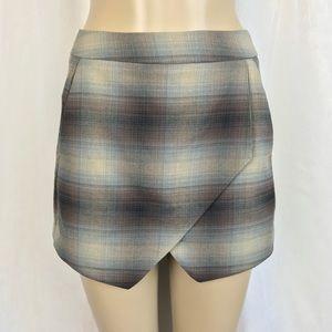 NWT F21 Brown Plaid High Waist Skort Skirt Shorts